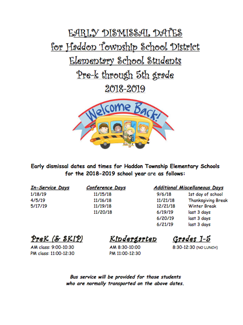 Haddon Township Elementary Early Dismissal Dated for 2018-2019