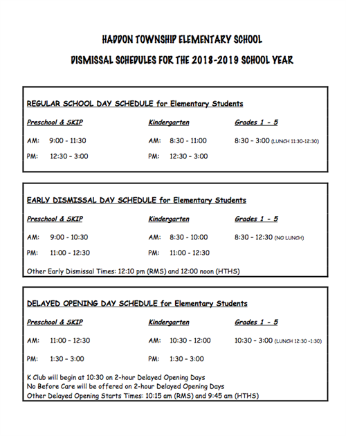 Haddon Township Elementary School Dismissal Schedules for 2018-2018