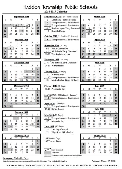 18 19 calendar