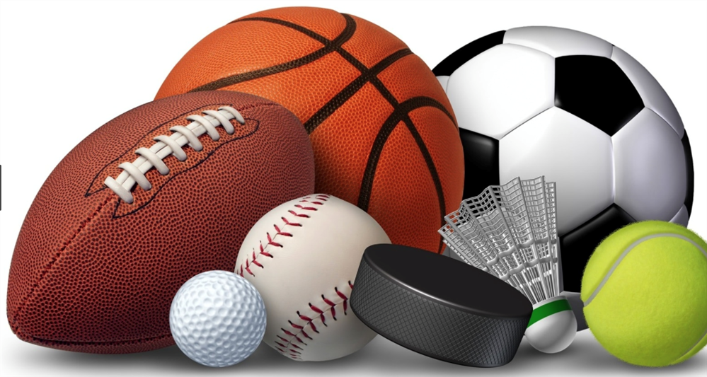 Sports equipment: baseball, basketball, golf ball, football